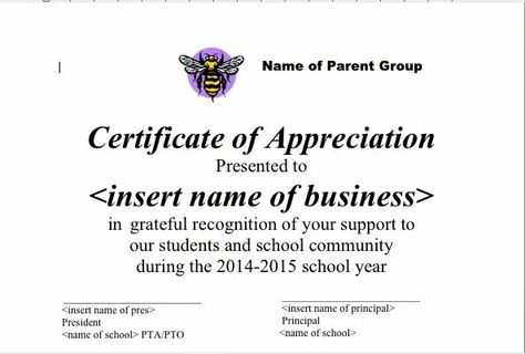 Certificate of appreciation pta Pinterest Pta - certificate of appreciation examples