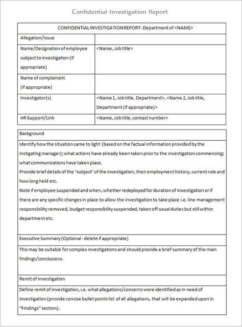 Investigation Report Sample Format Imgarcade Online Image