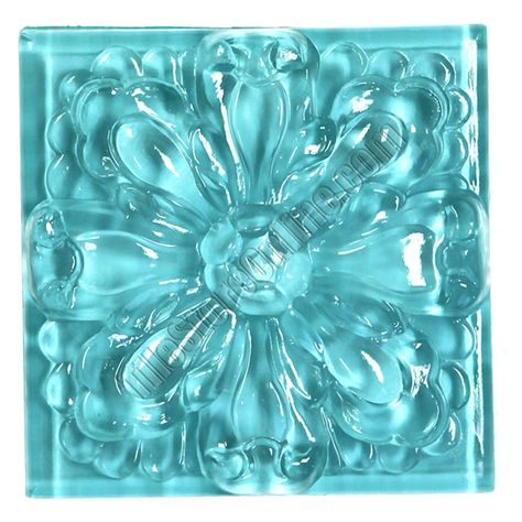 Glass Tile Relief Deco 4 X 4 Large Glass Flower Deco 4x4 Decorative Glass Insert Blue Glossy Glass Tile Decorative Tile Aqua Tiles