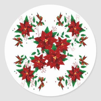 Lovely Christmas Red Flowers Classic Round Sticker Zazzle Com Red Flowers Christmas Stickers Round Stickers