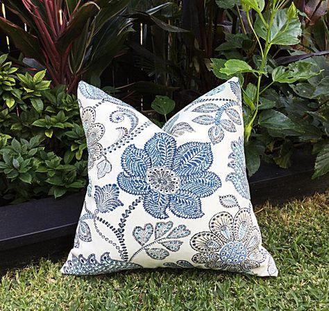 Garden Party Floral Outdoor Pillows Blue Outdoor Pillows Hamptons Outdoor Cushions Cover Only Hampton/'s Style Blue Floral Cushions