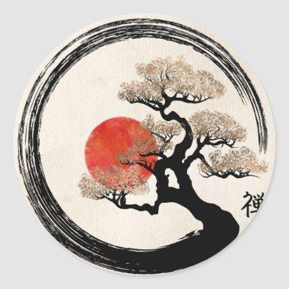 Enso Circle And Bonsai Tree On Canvas Classic Round Sticker Zazzle Com Japanese Tattoo Art Bonsai Tree Tattoos Japanese Art
