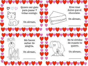 Printable Spanish Valentine Cards for Kids  Spanish Raising and