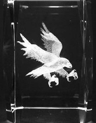 3D EAGLE ON BRANCH 3 Inch GLASS PAPERWEIGHT Laser Etched Crystal Cube