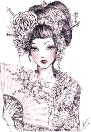Conosciuto Risultati immagini per japanese geisha sketch | Japanese geisha CO21