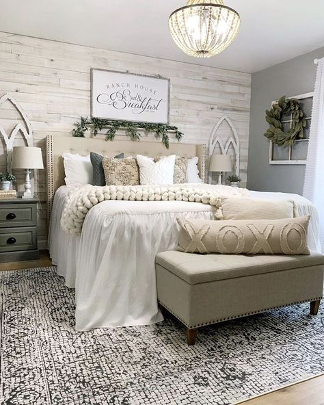 Chelsea created this cozy, farmhouse look with lots of textures and neutral tones (including our White Wash Wall Boards). Can you see yourself waking up in a room like this? Photo and design by Farmhouse Master Bedroom, Master Bedroom Makeover, Master Bedroom Decorating Ideas, White Rustic Bedroom, Master Bedroom Grey, Bedroom Ideas For Couples On A Budget, Master Bedroom Furniture Ideas, Bedroom Ideas Master For Couples, Rustic Romantic Bedroom