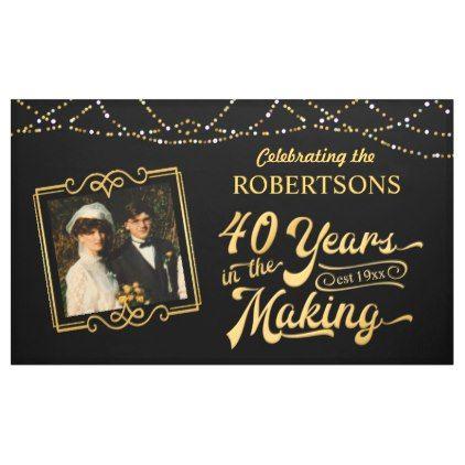 40th Wedding Anniversary Photo Black Gold Lights Banner Zazzle Com Wedding Anniversary Photos Anniversary Photos 40th Wedding Anniversary