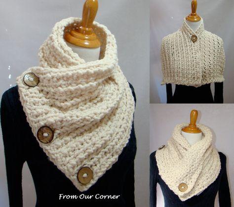 Boston Habor Style scarf, 3 Coconut Button scarfl, Dallas Dreams Scarf, Cream 3 Buttons Scarf, READY TO SHIP