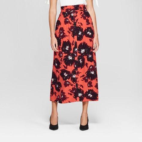 6e06a18e7e Women's Printed Tie Waist Midi Skirt - A New Day™ Red/Navy : Target ...