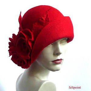 Chapeau Chapeau De Feutre Rouge Chapeau Cloche Cloche Rouge En Feutrine Rouge Chapeau Chapeau De 1920 Art Hat Ch Chapeau Cloche Modele De Chapeau Chapeau