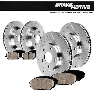 Rear Drill /& Slot Brake Rotors And Ceramic Pads For Chevy S-10 GMC Jimmy Sonoma