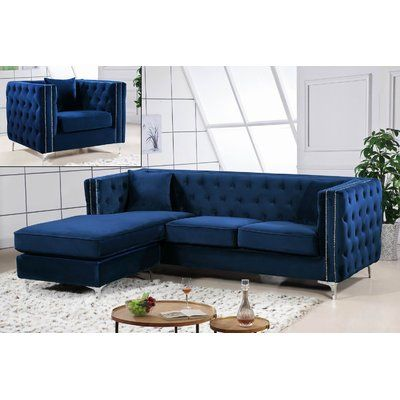 Mercer41 Alvord Reversible Sectional Sofa Furniture Tufted Sectional Sofa