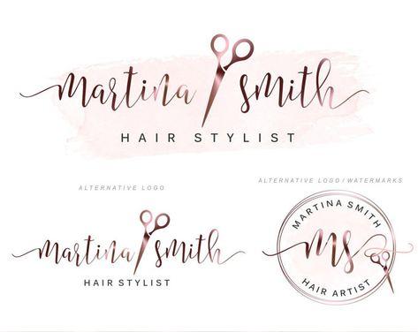 Hair Stylist Logo Premade Logo For Hair Stylist Watercolor Logo