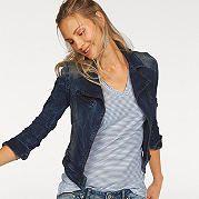 """Женская куртка от LTB выполнена из стрейчевого хлопка, имитирующего """"потертый"""" деним. Ворот с двумя лацканами, декоративный нагрудный карман, асимметричная молния подчеркивают ваш отличный вкус. Отстрочка стройнит фигуру. Нежная чесаная эластичная ткань великолепно сидит и создает комфорт. Длина составляет примерно 49 см (разм. М). за 5799р.- от Otto"""
