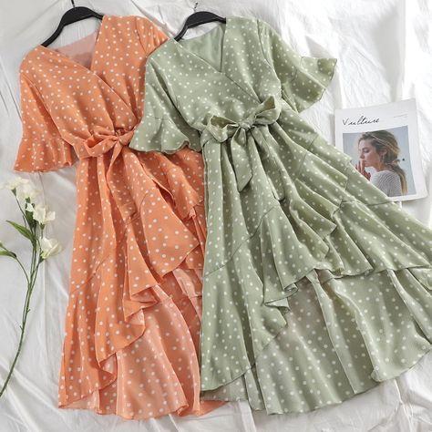 Korean Style Polka Dot Ruffle Midi Dress
