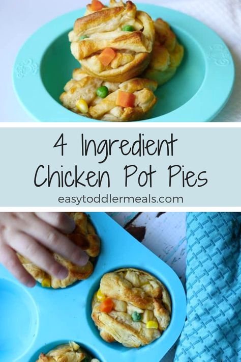 4 Ingredient Mini Chicken Pot Pies A bite sized twist to a classic comfort recipe. Make these easy individual mini chicken pot pies with just four ingredients in less than 30 minutes – it's the perfect weeknight dinner for kids and adults! Healthy Family Dinners, Healthy Toddler Meals, Family Meals, Toddler Dinners, Toddler Dinner Recipes, Easy Kids Meals, Healthy Recipes For Toddlers, Dinner Ideas For Toddlers, Salads