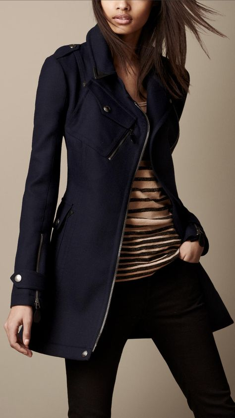 Short Technical Wool Trench Coat - perfect for a nautical look or spring beach outfit