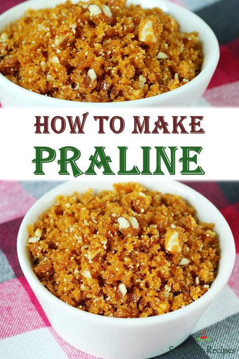 Praline is a crunchy confectionery used as a topping on ice creams, pastries and cakes. Learn to make your own at home with this simple steps. #praline #vegan #dessert via @swasthi