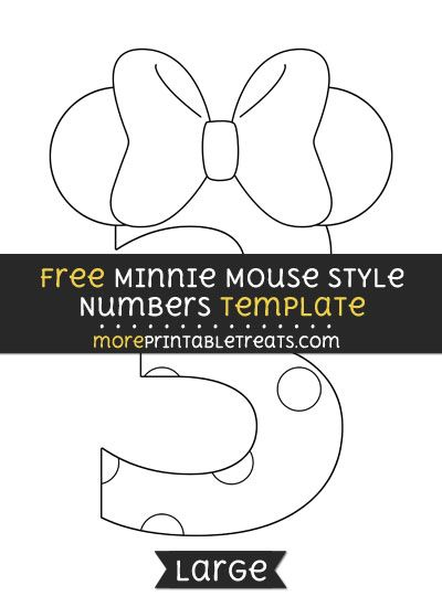 Free Minnie Mouse Style Number 3 Template Large Minnie Mouse