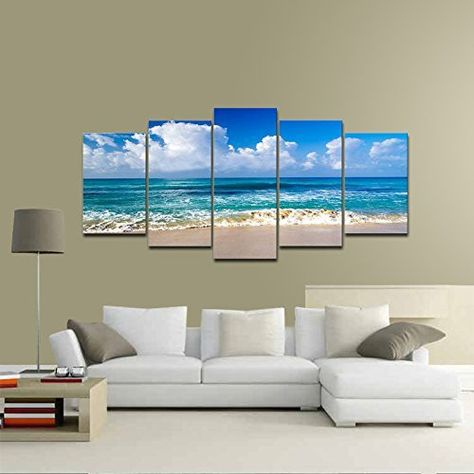 Pyradecor Seaside Modern Stretched and Framed Seascape 5 Panels Giclee Canvas