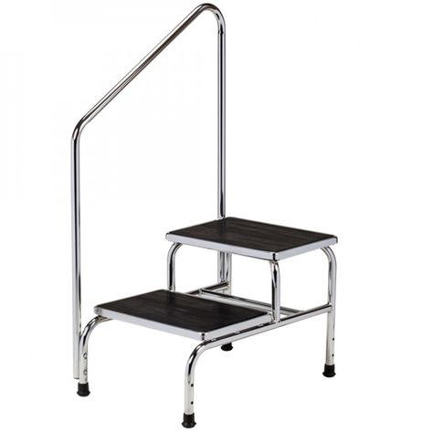 Excellent Clinton Double Step Chrome Bariatric Step Stool With Handrail Inzonedesignstudio Interior Chair Design Inzonedesignstudiocom