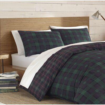 Eddie Bauer Woodland Tartan Reversible Duvet Cover Set Duvet Cover Sets Reversible Duvet Covers Green Comforter Sets