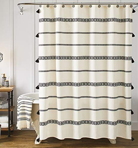 Yokii Black And Cream Tassel Bohemian Farmhouse Shower Curtain Shower Curtains Boutique In 2020 Boho Shower Curtain Farmhouse Shower Curtain Fabric Shower Curtains