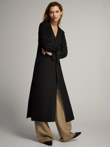 Spring Summer 2019 Women S Trench Cardigan With Belt At Massimo Dutti For 119 Effortless Elegance Nel 2020 Cardigan Trench