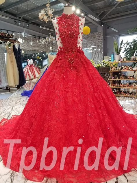 Red Crystal Wedding Dress