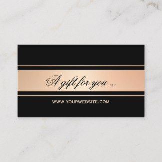 Gift Certificate Template In Business Card Size Featuring A Rose Gold And Black Gift Certificate Template Certificate Templates Free Gift Certificate Template