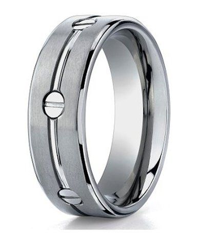 mens designer titanium ring with polished groove and inset screws