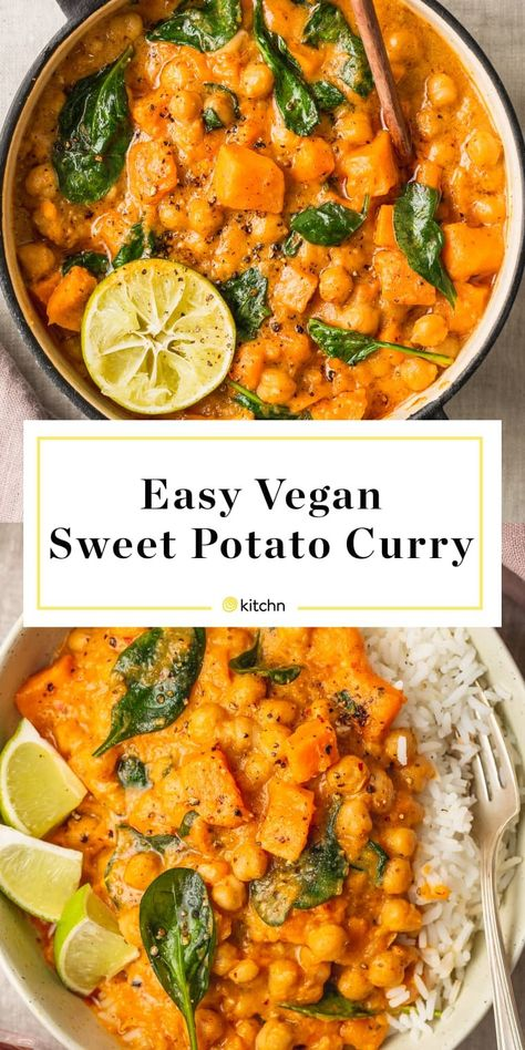 This easy vegan sweet potato curry is great for dinner or make ahead meal prep lunch. The curry itself is made with ginger red curry paste chickpeas coconut milk ground black pepper and baby spinach. This plant-based meal is hearty spicy and satisfying. Indian Food Recipes, Whole Food Recipes, Cooking Recipes, Healthy Recipes, Sweet Potato Recipes Healthy, Healthy Food, Sweet Potato Meals, Healthy Meals, Vegetarian Sweet Potato Recipes
