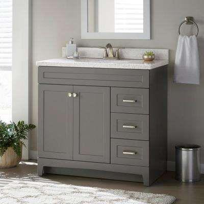 Thornbriar 36 In W X 21 In D Bathroom Vanity Cabinet In Cement Home Depot Bathroom Bathroom Vanities Without Tops Home Depot Bathroom Vanity