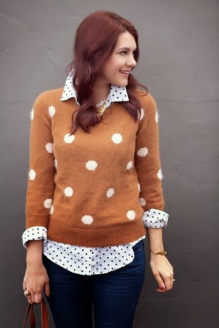 brown sweater cardigan spotted white shirts blue jeans handbag ...