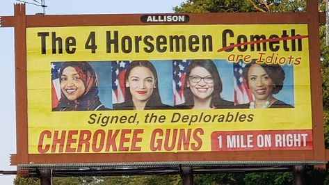 A gun store's billboard targeting the congresswomen known as the 'Squad' is coming down