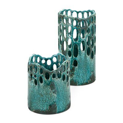 World Menagerie Cutwork 2 Piece Ceramic Hurricane Set Wayfair In 2020 Hurricane Candle Holders Hurricane Candles Candle Holder Set