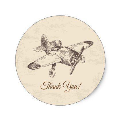 Vintage Airplane Plane Round Sticker Zazzle Com Vintage
