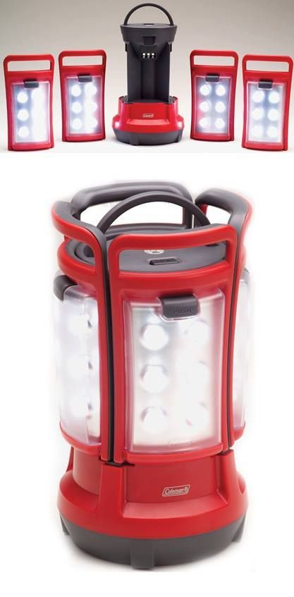 Coleman LED Quad Lantern! Combining an area light with four portable lanterns in a single clever unit, the Coleman LED Quad lantern is a versatile choice for indoor or outdoor use.  Perfect for camping, lighting during a power outage or in your prepping supplies.