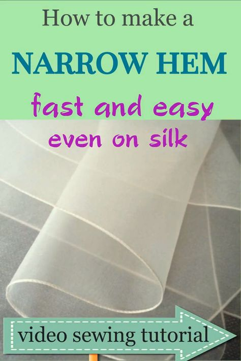 Sewing hacks: how to sew a narrow hem easy even on chiffon fabric / video sewing tutorial