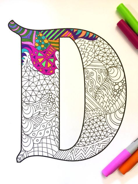 Letter D Zentangle Inspired By The Font Deutsch Gothic Letter D Lettering Zentangle Patterns