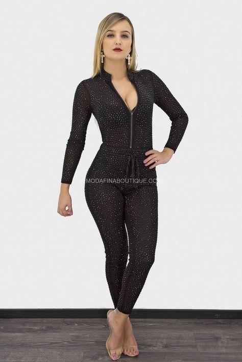 Irina Black Rhinestone Long Sleeve Jumpsuit