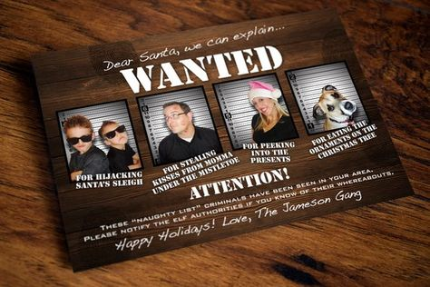 22f88c336ea Print Your Own Photo Holiday Card - Santa s Most Wanted - Wood Background