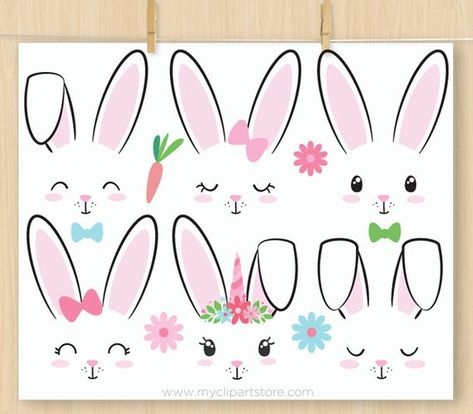 Bunny Faces, Rabbits Clipart, Unicorn, Emoji, Stamps, Easter bunny, Embroidery, stickers, Commercial Use, Vector Clip Art, HTV