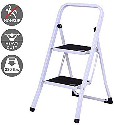 Amazon Com Giantex 2 Step Ladder Folding Steel Step Stool Steel Stepladders With Anti Slip Heavy Duty With 330lbs Capacity Steel Stool Step Ladders Step Stool