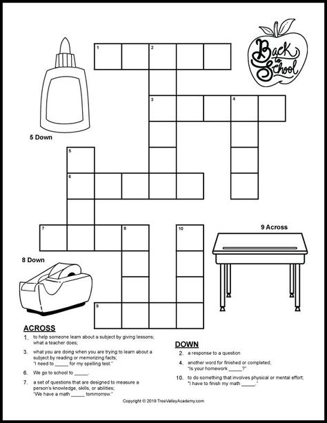 graphic regarding Back to School Crossword Puzzle Printable known as Pinterest Пинтерест