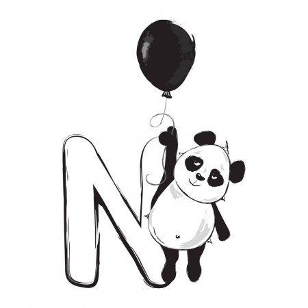En La Misma Serie Con 231442518 Panda Bear Cute Animal English Alphabet Letter E With Cartoon Baby Il Ilustracion De Panda Tatuajes De Osos Panda Arte De Panda