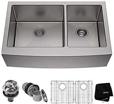 Kraus Khf203 33 33 Inch Farmhouse Apron 60 40 Double Bowl 16 Gauge Stainless Steel Kitchen Sink Sink Double Bowl Kitchen Sink Stainless Steel Sinks