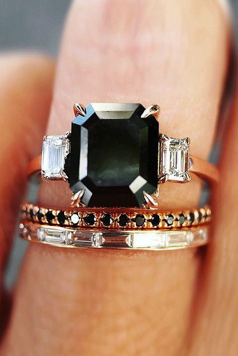 wedding rings for women emerald cut solitaire black diamond Cute Jewelry, Jewelry Accessories, Black Diamond Bands, Wedding Rings For Women, Black Wedding Rings, Wedding Bands, Wedding Ring Designs, Wedding Ideas, Baguette Diamond Rings