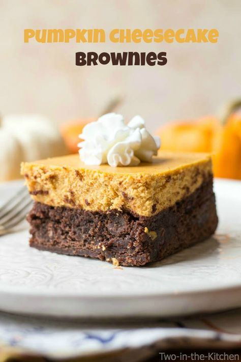Pumpkin Cheesecake Brownies | Two in the Kitchen