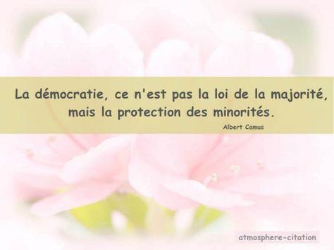 La démocratie, ce n'est pas la loi de la majorité, mais la protection des minorités. -Albert Camus